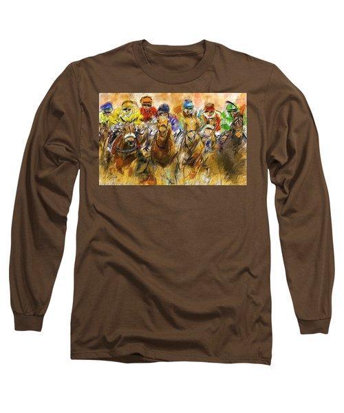 Horse Racing Abstract Long Sleeve T-Shirt