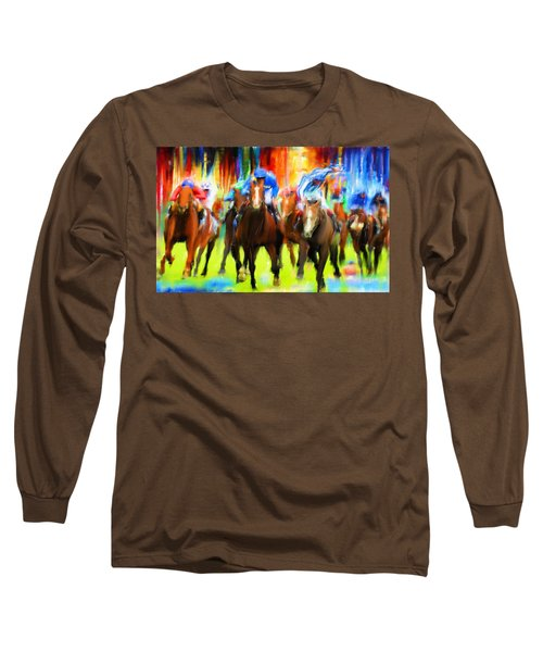 Horse Racing Long Sleeve T-Shirt by Lourry Legarde