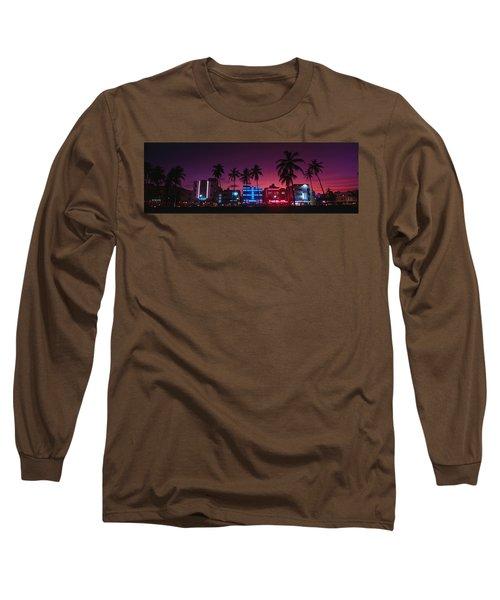 Hotels Illuminated At Night, South Long Sleeve T-Shirt