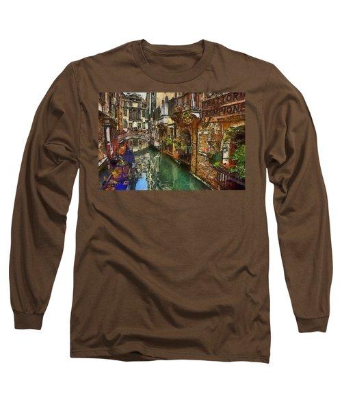 Houses In Venice Italy Long Sleeve T-Shirt by Georgi Dimitrov