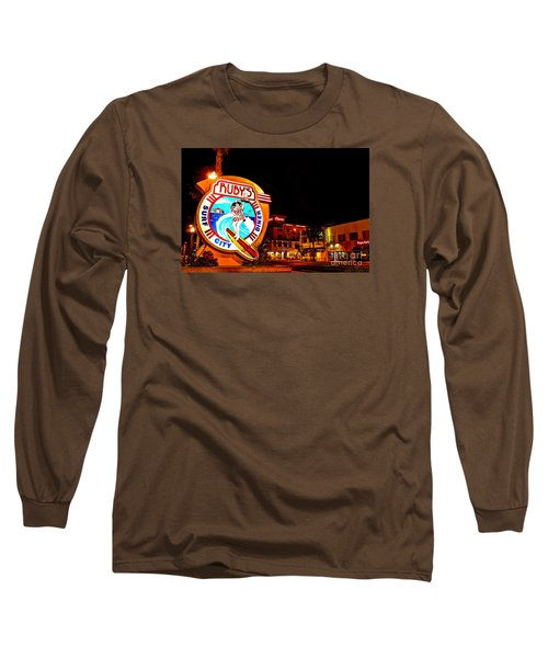 Long Sleeve T-Shirt featuring the photograph Huntington Beach Downtown Nightside 2 by Jim Carrell