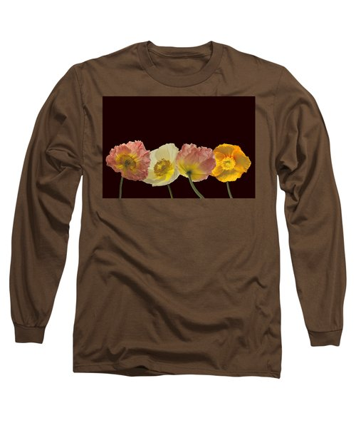 Iceland Poppies On Black Long Sleeve T-Shirt