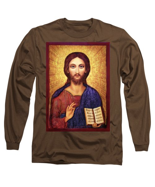 Long Sleeve T-Shirt featuring the mixed media Icon Christ by Ananda Vdovic