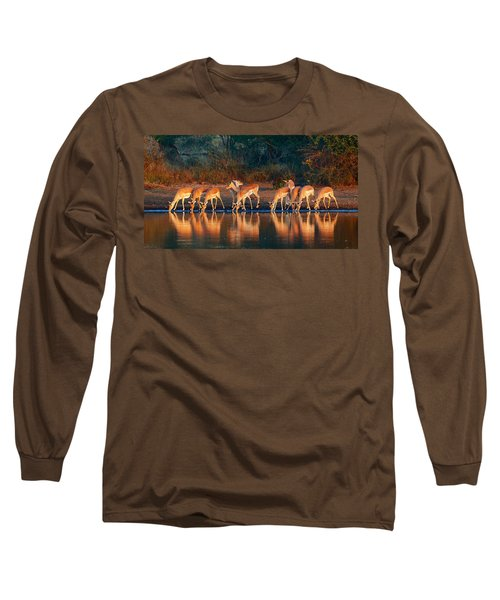 Impala Herd With Reflections In Water Long Sleeve T-Shirt
