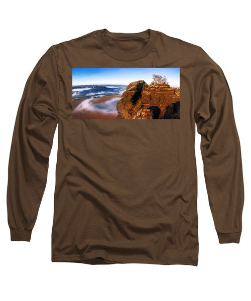 In The Sun Glowing Rock On The Lilienstein Long Sleeve T-Shirt