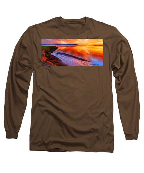 Long Sleeve T-Shirt featuring the painting Inlet Sunset by Bruce Nutting