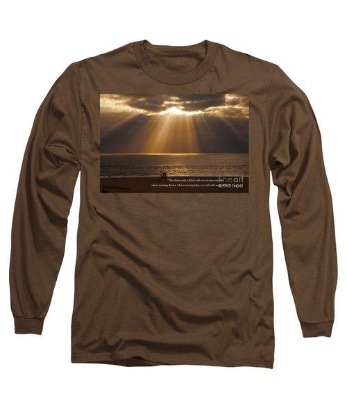 Inspirational Sun Rays Over Calm Ocean Clouds Bible Verse Photograph Long Sleeve T-Shirt by Jerry Cowart