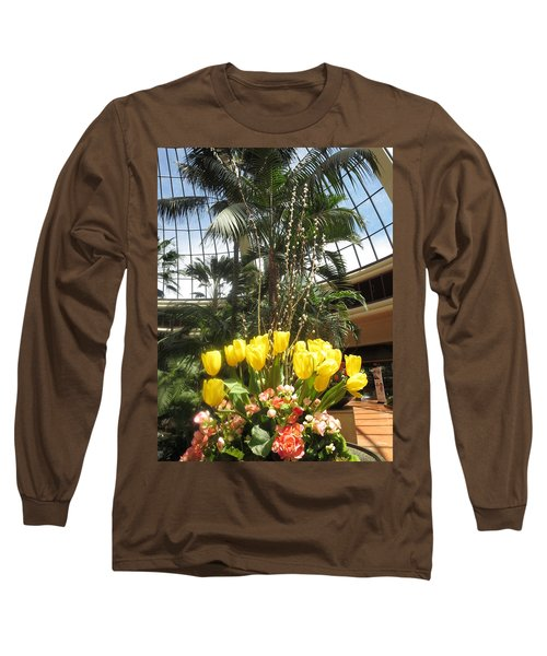 Long Sleeve T-Shirt featuring the photograph Interior Decorations Butterfly Gardens Vegas Golden Yellow Tulip Flowers by Navin Joshi