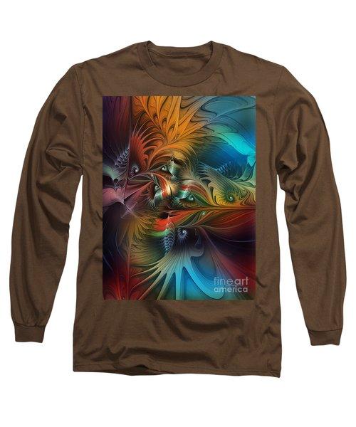 Intricate Life Paths-abstract Art Long Sleeve T-Shirt