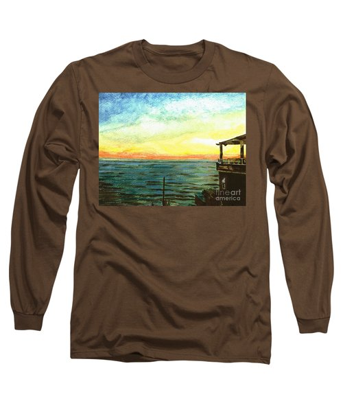 Long Sleeve T-Shirt featuring the painting Ionian Sea Zanti Greek Island by Teresa White