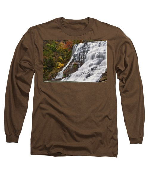 Ithaca Falls In Autumn Long Sleeve T-Shirt