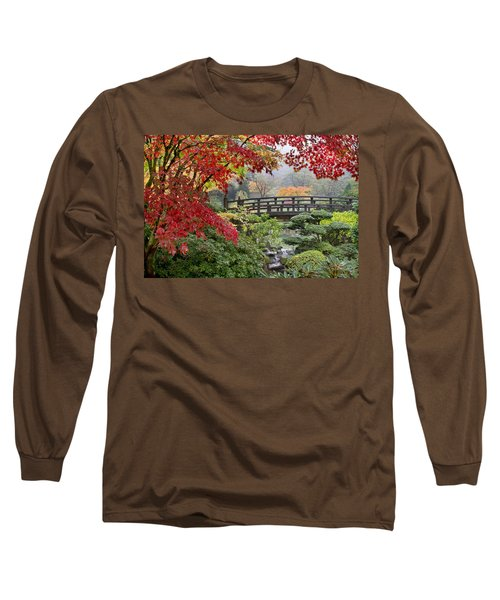 Long Sleeve T-Shirt featuring the photograph Japanese Maple Trees By The Bridge In Fall by JPLDesigns