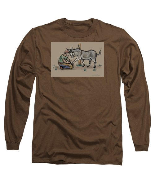 Jasper Warms Up To The Farrier Long Sleeve T-Shirt by Dawn Senior-Trask
