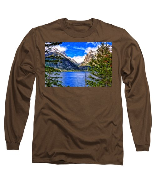 Long Sleeve T-Shirt featuring the painting Jenny Lake by Michael Pickett