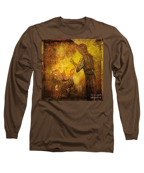 Jesus Meets His Mother Via Dolorosa 4  Long Sleeve T-Shirt by Lianne Schneider