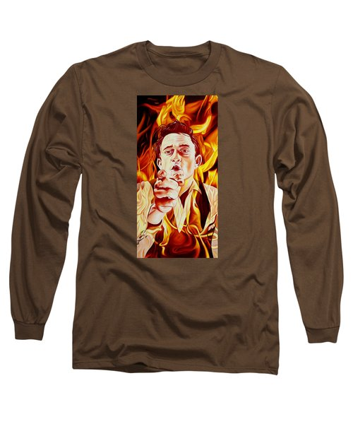 Long Sleeve T-Shirt featuring the painting Johnny Cash And It Burns by Joshua Morton