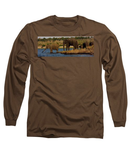 Long Sleeve T-Shirt featuring the photograph Kalahari Elephants Preparing To Cross Chobe River by Amanda Stadther