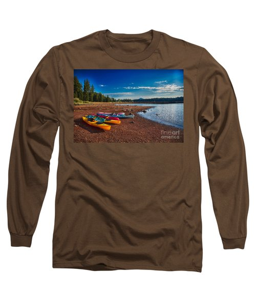 Long Sleeve T-Shirt featuring the painting Kayaking On Howard Prairie Lake In Oregon by Omaste Witkowski
