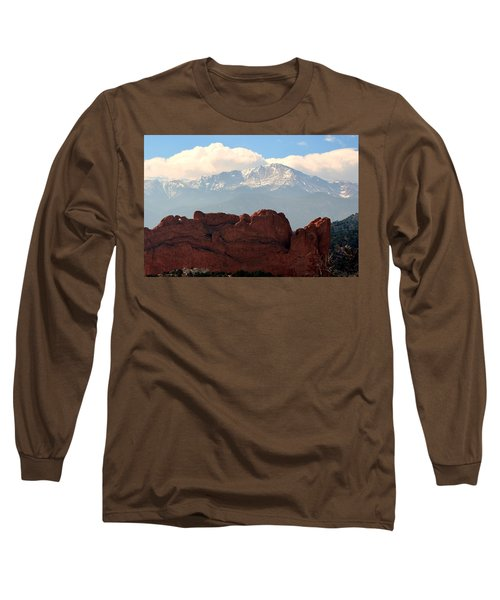 Kissing Camels Against Pikes Peak Long Sleeve T-Shirt by Clarice  Lakota