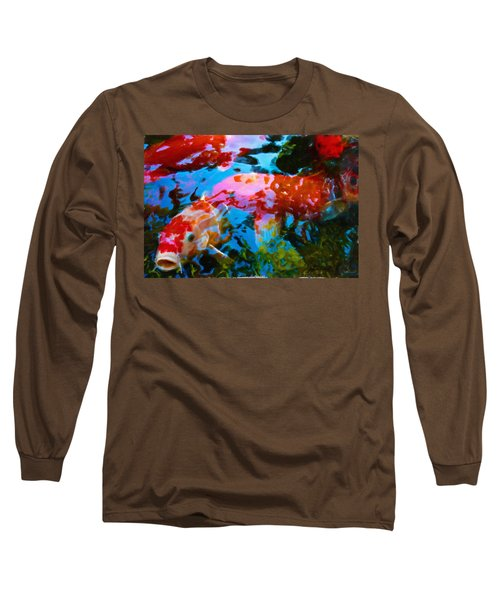 Long Sleeve T-Shirt featuring the painting Koi Fish by Joan Reese