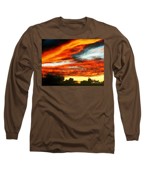 Long Sleeve T-Shirt featuring the photograph Kona Sunset 77 Lava In The Sky  by David Lawson