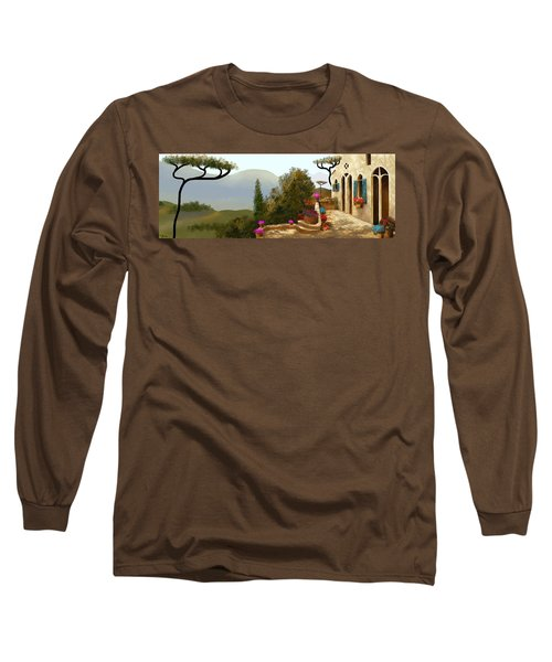 Long Sleeve T-Shirt featuring the painting La Bella Terrazza by Larry Cirigliano