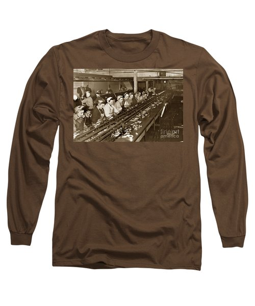 Ladies Packing Sardines In One Pound Oval Cans In One Of The Over 20 Cannery's Circa 1948 Long Sleeve T-Shirt