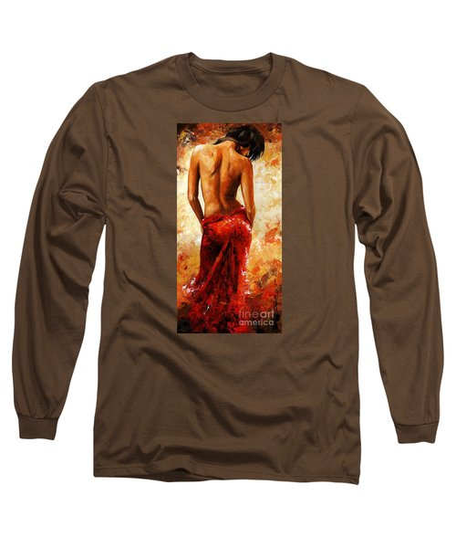 Lady In Red 27 Long Sleeve T-Shirt by Emerico Imre Toth
