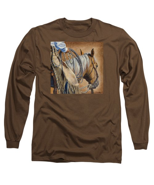 Lariat And Leather Long Sleeve T-Shirt by Kim Lockman