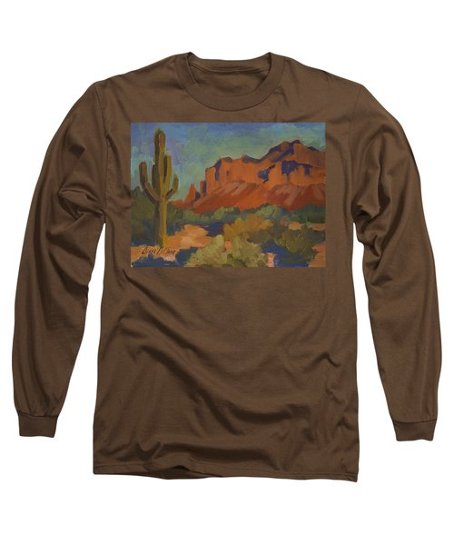 Late Afternoon Light At Superstition Mountain Long Sleeve T-Shirt by Diane McClary