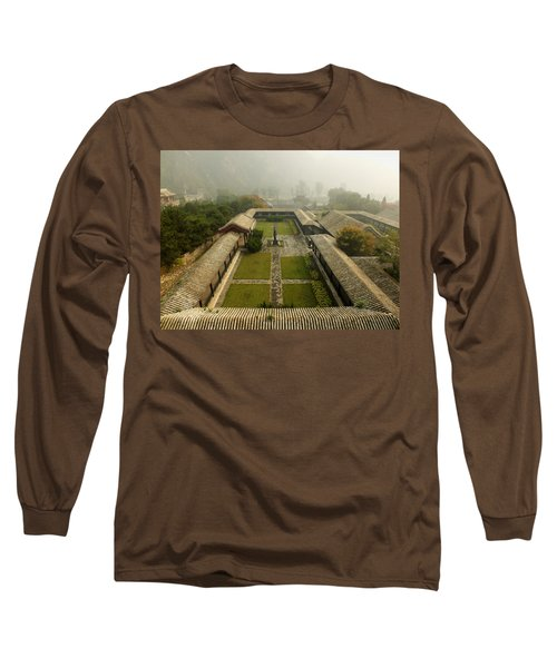 Long Sleeve T-Shirt featuring the photograph Late Morning Fog At The Great Wall  by Lucinda Walter