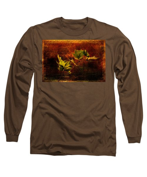 Leaves On Texture Long Sleeve T-Shirt