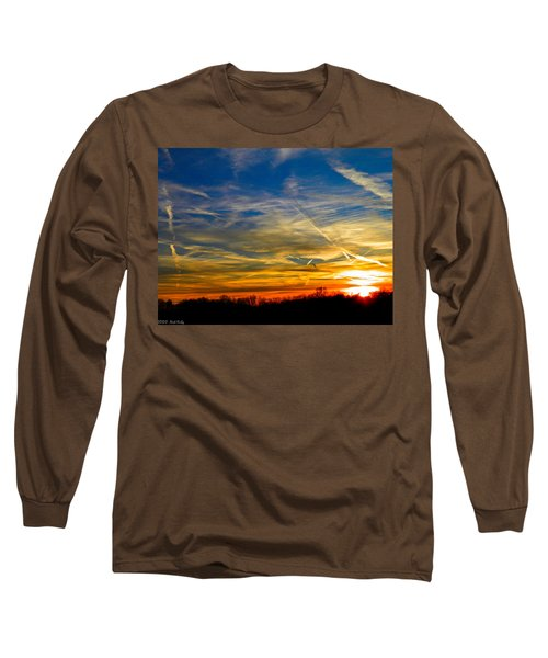 Leavin On A Jetplane Sunset Long Sleeve T-Shirt by Nick Kirby