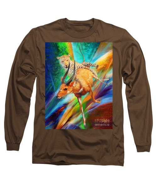 Long Sleeve T-Shirt featuring the painting Leopard Attack by Rob Corsetti