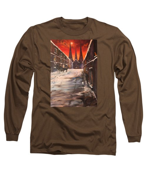 Long Sleeve T-Shirt featuring the painting Lichfield Cathedral A View From The Close by Jean Walker