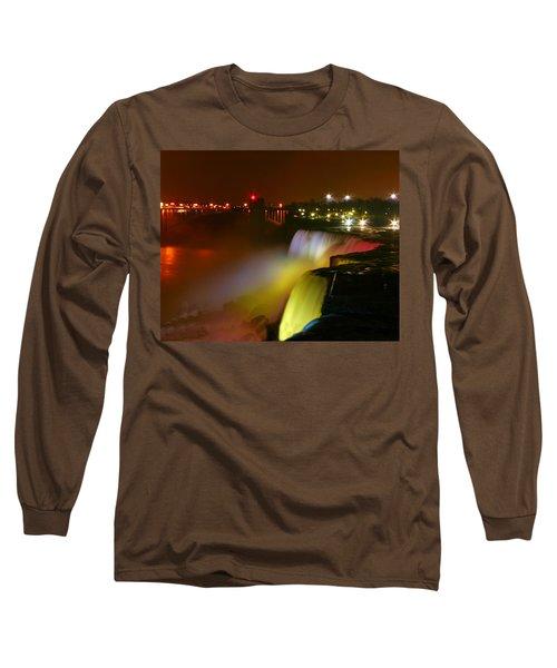 Lights On Niagara Falls Long Sleeve T-Shirt by Richard Engelbrecht