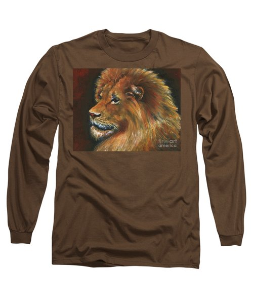 Long Sleeve T-Shirt featuring the painting Lion by Alga Washington