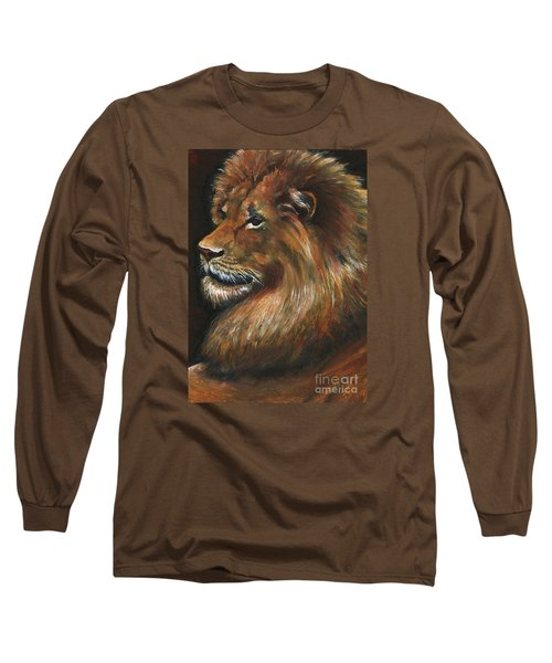 Long Sleeve T-Shirt featuring the painting Lion Portrait by Alga Washington
