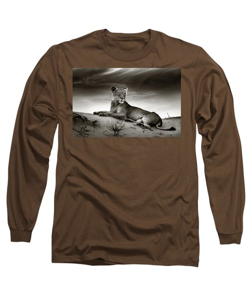 Lioness On Desert Dune Long Sleeve T-Shirt by Johan Swanepoel