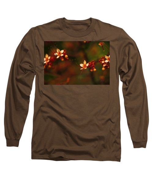 Little Red Flowers Long Sleeve T-Shirt by Bradley R Youngberg