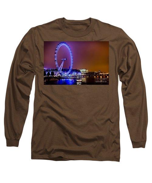 Long Sleeve T-Shirt featuring the photograph London Eye Night Glow by Matt Malloy