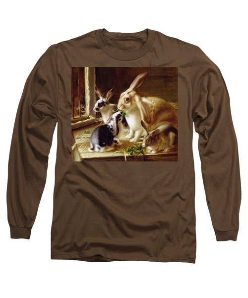 Long-eared Rabbits In A Cage Watched By A Cat Long Sleeve T-Shirt by Horatio Henry Couldery
