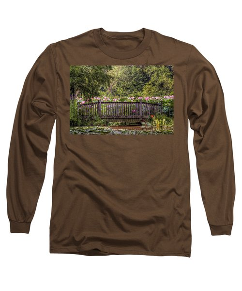 Long Sleeve T-Shirt featuring the photograph Lotus Garden Pond And Bridge by Jerry Gammon
