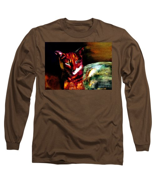 Lucifer Sam Tiger Cat Long Sleeve T-Shirt by Martin Howard