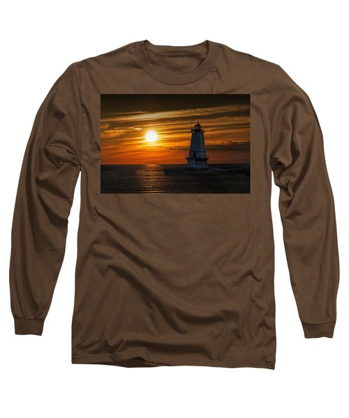 Ludington Pier Lighthead At Sunset Long Sleeve T-Shirt