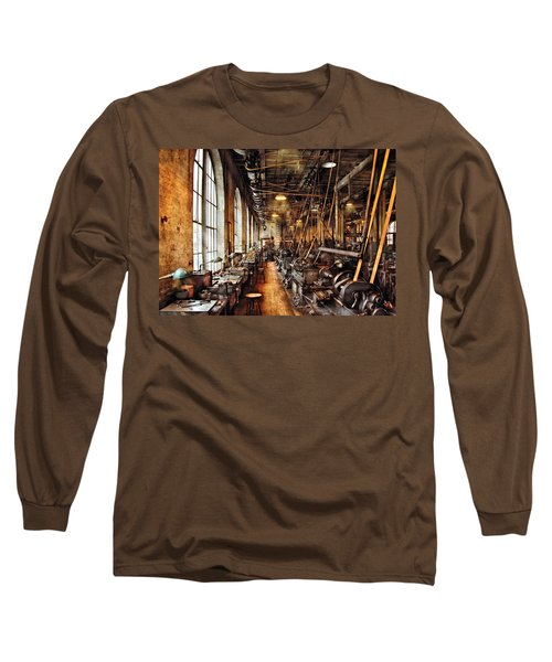Machinist - Machine Shop Circa 1900's Long Sleeve T-Shirt by Mike Savad