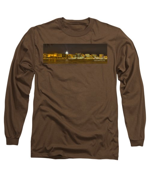 Madison - Wisconsin City  Panorama - No Fireworks Long Sleeve T-Shirt by Steven Ralser