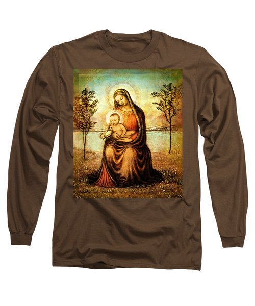 Long Sleeve T-Shirt featuring the mixed media Madonna With The Dove by Ananda Vdovic
