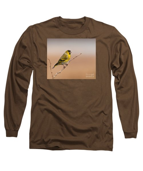 Male Eurasian Siskin Long Sleeve T-Shirt by Liz Leyden