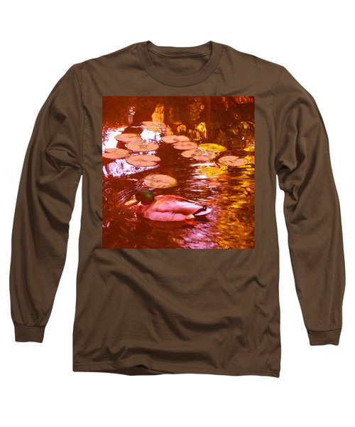 Mallard Duck On Pond 3 Square Long Sleeve T-Shirt